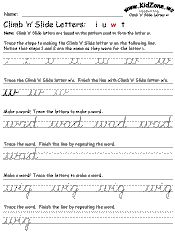 cursive handwriting practice worksheets. free and grouped together with like movements. Kind of a pain to download all separately but a good starting point.