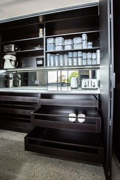 We believe that you can never have enough storage. Here we have created a tea/coffee nook behind bifold doors. Featuring even more usable bench space and loads of shelving and drawers. Coffee Nook, Butler Pantry, Kitchen Storage, Shelving, Oven, Kitchen Appliances, Storage Ideas, Kitchen Ideas, Drawers