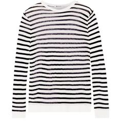 T by Alexander Wang Striped jersey top (152 AUD) ❤ liked on Polyvore featuring tops, ivory, cut loose tops, striped top, stripe top, round top and double layer top
