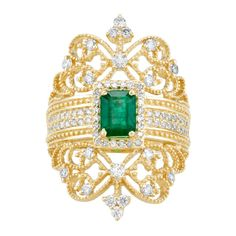Effy Jewelry Effy Brasilica 14K Yellow Gold Emerald and Diamond Ring,... ($4,500) ❤ liked on Polyvore featuring jewelry, rings, emerald jewelry, womens jewellery, emerald diamond ring, 14k ring and yellow gold rings