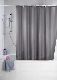 Wenko 20044100 Anti-Schimmel Duschvorhang Uni Grey - Anti-Bakteriell, waschbar, mit 12 Duschvorhangringen, Kunststoff - Polyester, Grau 20,50€