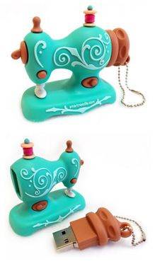 Vintage Sewing Machine USB Flash Drive - 2gb Aqua
