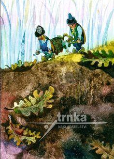 Reprodukce Broučci, Nosítka - Jiří Trnka Children's Literature, Animation Film, Childrens Books, Illustrators, Sketches, Watercolor, Czech Republic, Gnomes, Artist