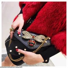 Gucci Bee & Pearl Embellished Leather Shoulder Bag 2017
