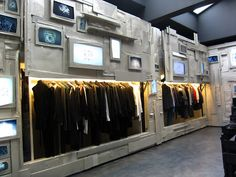 L'Ecleireur on the rue de Sevigny in Paris. A high tec, multi media and art filled clothes shop. A truly modern shop.