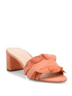 Loeffler Randall Vera Ruffled Suede Block Heel Slides In Melon Black Suede Shoes, Suede Sandals, Shoes Sandals, Loeffler Randall, Metallic Leather, Slip On Shoes, Block Heels, Heeled Mules, Summer