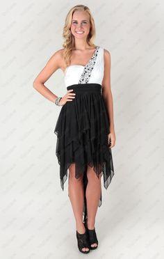 high low dress with one shoulder and stone trim - Vuhera.com