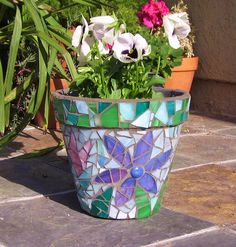 Mosaic Pot by GardenDivaDeb, via Flickr
