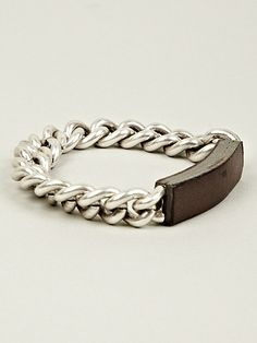 "BRASS CHAIN WITH LEATHER: i love ""identity"" bracelets."