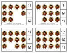 Thanksgiving Count & Clip Cards *Common Core Aligned*  Count & Clip Cards allow learners to practice counting. There are 12 clip cards. On each card is a set of pictures to count and a choice of three numerals. Learners count the pictures in the set and clip a clothespin to the numeral that corresponds with the number of pictures in the set.