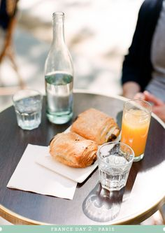 pain au chocolat and the most delicious fresh orange juice at Pain & Chocolat in Paris. Film. Kallie Brynn Photography