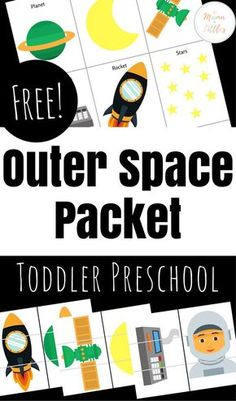 Space activities and games for toddlers that you can print and get right to learning! An excellent resource for your toddler or preschooler who loves space! Space Theme Preschool, Space Activities For Kids, Toddler Learning Activities, Toddler Preschool, Classroom Activities, Kids Learning, Preschool Ideas, Stem Activities, Space Classroom