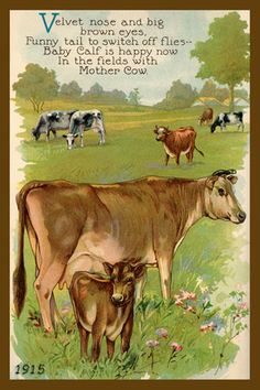 Quilt Block Cow and Calf 1915 printed on cotton. Ready to sew.  Single 4x6 block $4.95. Set of 4 blocks with pattern $17.95.