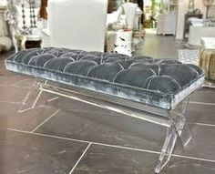 Powder Blue Bench W/lucite Legs