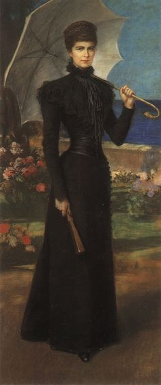 Empress Elisabeth (Sisi) of Austria (1837-1898) in mourning for her son Rudolf (1858-1889) in Corfu, 1889