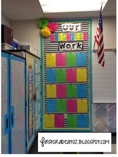 Bright Chevron and Polkadots classroom theme! Student classwork board Bright Chevron and Polkadots classroom theme! Neon Classroom Decor, Classroom Layout, Classroom Organisation, First Grade Classroom, New Classroom, Classroom Setting, Classroom Design, Classroom Displays, Kindergarten Classroom
