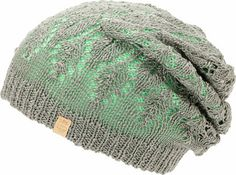 bd170cb3f56 Empyre girls Noble mint and grey reversible lace beanie. Rock the slight  slouch fit grey lace patterned colorway for a more delicate look or the  tight knit ...