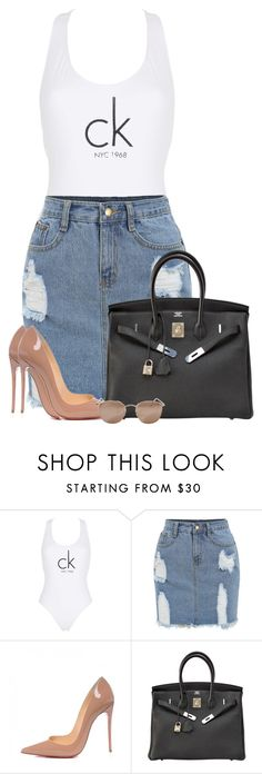 """""""✨"""" by nadiaamrc ❤ liked on Polyvore featuring Calvin Klein, Christian Louboutin, Hermès and Linda Farrow"""