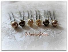 Wedding hair clips, Bridal Hair Accessories, Swarovski dark brown champagne pearls, Gold Rhinestone ball, Bridesmaid Hair do, Fall wedding. $18.00, via Etsy.