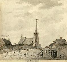 Aart Schouman (1710-1792). Het houten bouwseltje dat lijkt te leunen tegen het rechterhuis is in werkelijkheid het toenmalige Kalhuis. Het was aan de voorzijde goeddeels open en het diende als wachthuisje voor diegenen die de stuurlieden van de visserspinken moesten assisteren bij het aanlanden op het strand
