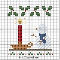 Cross Stitch Christmas Candle