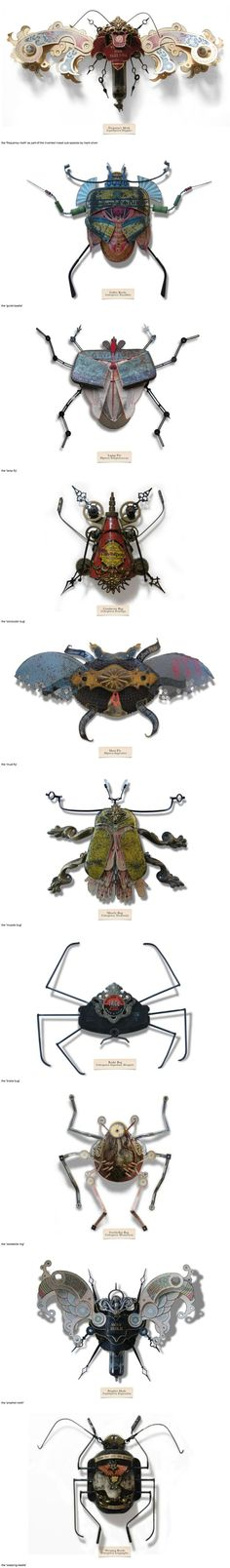 """Mark Oliver has created a series of insects called """"LitterBugs"""" brought to life entirely from trash; a species developed to adapt to the harsh, changing urban landscape. They are part of an invented genus, affectionately categorized in a document known as the """"compendium of carabid and terrestrial detritus"""" – each one having been given their own title and scientific name, some based off the found objects from which they are built. by randi"""