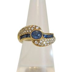 Vintage Diamond and Sapphire twist shank ring, 18 kt yellow gold, ca. from akaham on Ruby Lane Antique Jewelry, Vintage Jewelry, Homemade Jewelry, Trendy Jewelry, Vintage Diamond, Ruby Lane, Shank, Jewelry Rings, Sapphire