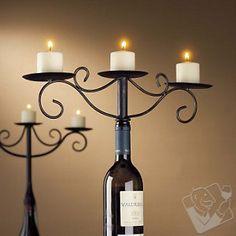 Wine Bottle Candelabra - Antiqued - Interesting Idea.
