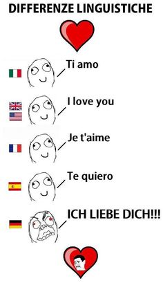 Linguistic differences. Would be good for a Valentines Day card