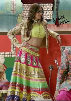Sonam Kapoor spotted in an INDIAN by Manish Arora Couture 2014 ensemble in 'Dolly Ki Doli' song video