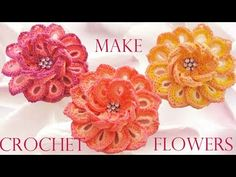 Como tejer fácil y rápido flores de colores de una sola tira - How to make flowers crochet - YouTube