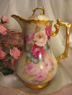 Victorian Roses CHOCOLATE COCOA POT Antique Limoges France Chocoliatiere HAND PAINTED TEA ROSES Fine Vintage Heirloom China Painting Tressemann Vogt T&V circa 1900