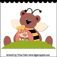 Bumble Bear 2 - Trina Clark Cutting File / Paper Piecing Pattern : Digi Web Studio, Clip Art, Printable Crafts & Digital Scrapbooking!