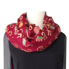 RED SCARF/ SHAWL - CASHMERE PASHMINA WRAP WITH ALL OVER CREWEL EMBROIDERY Size : 38 X 80/101 by Baduin. $57.25. CASHMERE BLEND. THE FABRIC IS COMPRISED OF CASHMERE PASHMINA WOOL COTTON AND SILK. THE COMBINATION OF THESE MATERIALS MAKES THE FABRIC VERSATILE, RESILIENT AND RESONATING WITH COLOR Dry clean only Most versatile accessory. It can be used as a shawl, stole, wrap, scarf, and as an accessory for a fancy evening dress. This all over Embroidery shawl can be e...