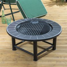 Elegant Fire Mountain Guadelouple Cermaic Table Fire Pit with Cover
