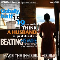 Globally, nearly half of 15-19 year olds think a husband is justified in beating his wife in certain circumstances. #ENDviolence. - When attitudes shifts, real change begins.