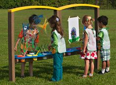 http://adventurouschild.com/large-art-easel.php  Preschool play equipment like the Outdoor Art Easel is a great way to bring art outdoors.  #playoutdoors #preschool