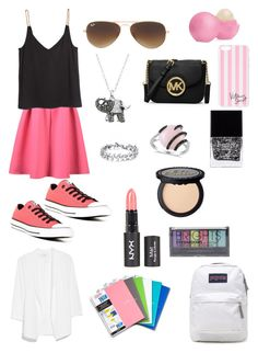 Back to school by powellsamantha-1 on Polyvore featuring polyvore, fashion, style, H&M, MANGO, Converse, JanSport, MICHAEL Michael Kors, Allurez, Crystal Sophistication, Victoria's Secret, Ray-Ban, Boohoo, Eos and Butter London