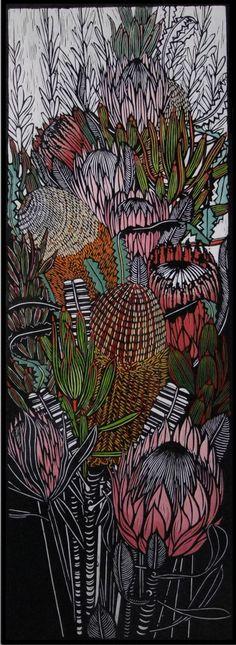Banksias and Proteas, Gail Kellett Protea Art, Botanical Drawings, Botanical Art, Linolium, Linocut Prints, Art Prints, Australian Native Flowers, Indigenous Australian Art, Illustrations