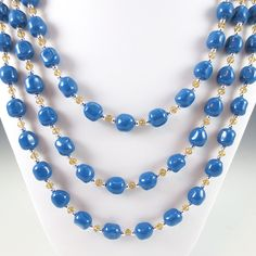 Swarovski #Crystal and #Baroque Crystal #Pearl Three #Necklace Set - #Lapis and #Amber Colors #jewlery #thecraftstar $180.00