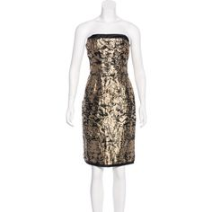 Pre-owned CH Carolina Herrera Strapless Jacquard Dress (1.245 DKK) ❤ liked on Polyvore featuring dresses, gold, ch carolina herrera, brown strapless dress, ch carolina herrera dresses, structured strapless dress and structured dress