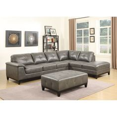 Emerald Home Marquis 3-Piece Sectional with 6 Seats (Chestnut Brown) (Wood)