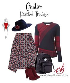 Modest doesn't mean frumpy! For more fashion tips, sign up here: http://eepurl.com/4jcGX   For the inverted triangle shape, here are some general guidelines. (For specifics, please check out the Style Academy: http://www.colleenhammond.com/product/style-academy/)  *use color and pattern to give the illusion of curvy, wider hips *accentuate your bottom half *avoid horizontal patterns on the top