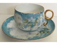 c1900 Stunning Limoges Hand Painted Forget Me Not Cup and Saucer