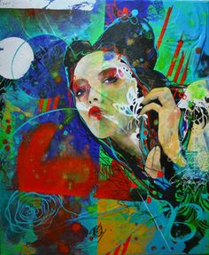 "Saatchi Art Artist Carole Bressan; Painting, ""Nonchalant woman"" #art"