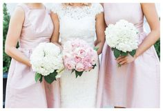 Pink roses and white hydrangea bouquets with pink bridesmaids dresses || Photo By: Three Little Birds Studio, LLC tlbsllc.com