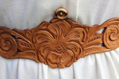 vintage floral tooled leather belt double buckle by brolliarfound, $25.00