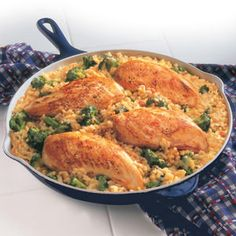 This easy skillet supper features chicken, broccoli and rice simmering in a creamy gravy made with Campbell's® Condensed Cream of Chicken Soup.