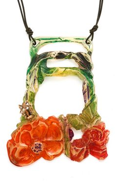 Elizabeth Bonte Art Nouveau Carved Floral Necklace
