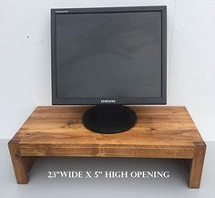 Ideas To Home Tv Monitor Riser Stand Modern Rustic Style In Solid Albus Wood Media Furnitureliving